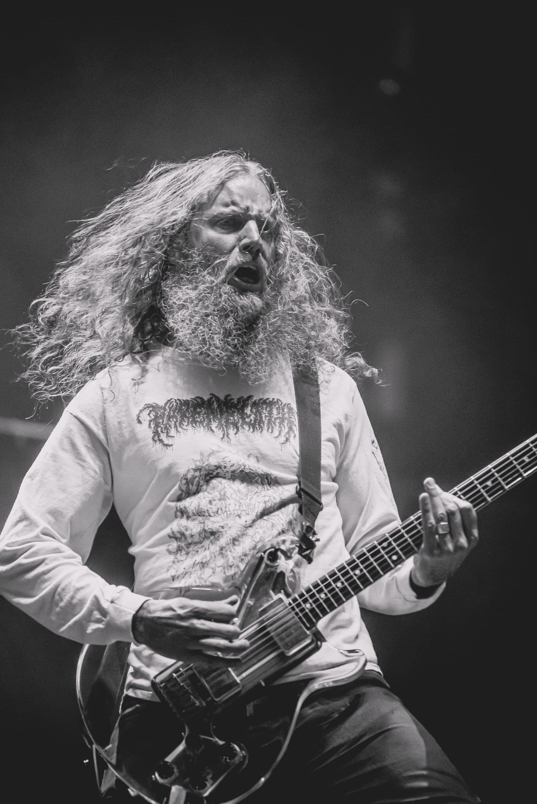 Black and white photo of guitarist from metal band Old Man Gloom during a concert in Las Vegas, Nevada